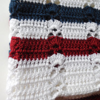 Baby Afghan - Red White and Blue - Lapghan - Handmade Crochet - Clearance - Reduced - Ready to Ship