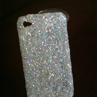 White iridescent glitter iphone 4/4s case by GlitterLovers on Etsy