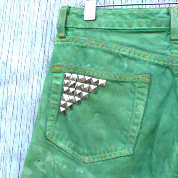 Bright Green Tie Dye Cut Off Shorts - Ralph Lauren Jeans, Studded Back Pockets, Hand Dyed Revamped Vintage - Size 6