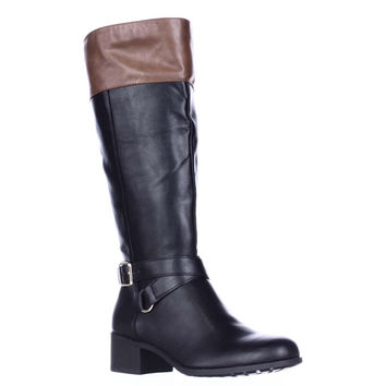 SC35 Vedaa Wide Calf Riding Boots, Black/Barrel, 5.5 US