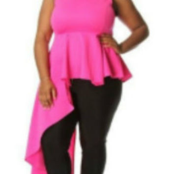 Dramatic Hot Pink Side Cascade Peplum Top