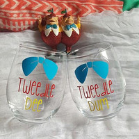 Disney Wine Glass Set, Tweedle Dee Tweedle Dum Wine Glasses, Best Friends Wine Glass Set, Alice In Wonderland