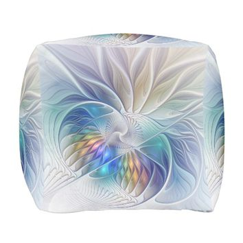 Floral Fantasy, Colorful Abstract Fractal Flower Pouf