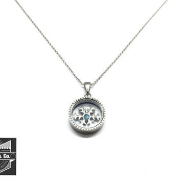 Stainless Steel Floating Snow Flake Pendant w/ Necklace