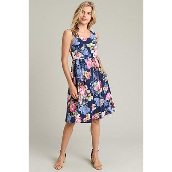 Fabulous Floral Midi Dress - Navy