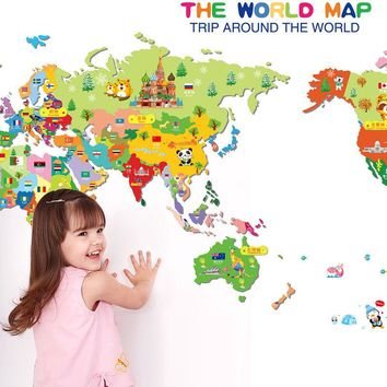 Animals World Map Vinyl Art Wall Sticker Decals Baby Kids Learning Room Decor