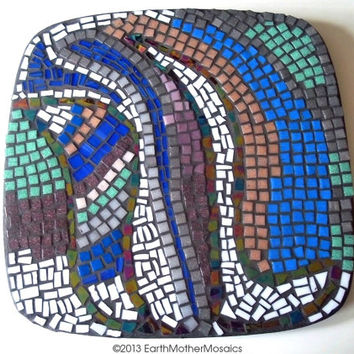 50% SALE Mosaic Wall Art: Abstract, Earth Tones, Blue, Brown, Green, Grey, Black, White, Iridescent