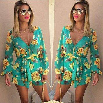 ESBONFI Fashion Women Playsuits Beach Jumpsuit 2017 Womens Rompers Bohemian Floral Print Bow Ruffles Long Sleeve Casual V neck