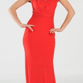 Red Sweetheart Neckline Off Shoulder Long Prom Dress