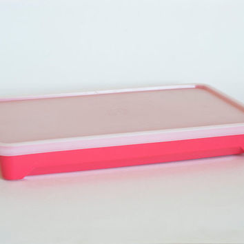 Vintage Tupperware Cold Cut Keeper, Deli or Bacon Storage, Sandwich Meat Storing, Marinating Container, Hot Pink