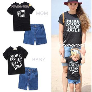 DCCKHG7 2017 Family Matching Outfits  Mommy and Me Clothes Family Clothing Baby Girl's clothing sets letter print t-shirts+denim shorts