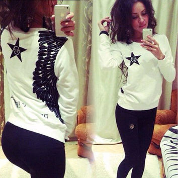 White Star Print Long Sleeve Sweater