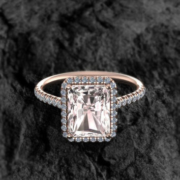 Engagement Ring 14k Solid Rose Gold Peach Pink Morganite Diamond Halo Emerald Cut Wedding Jewelry