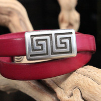 Leather Bracelet Double Wrap Engraved Maze Slider and Greek Cord Ends Summer Trends May Finds May Gifts Mothers Day