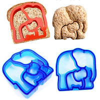 New Sandwich Cutter Double Elephant Shape Bread Toast Mold Mould Maker