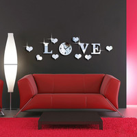New Creative Silver Color Acrylic Mirror Effect LOVE Letter Decal Wall Sticker Clock Mechanism Home Decoration Adesivo De Parede