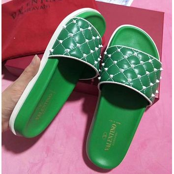 Valentino Women Leather Fashion Slipper Sandals Shoes