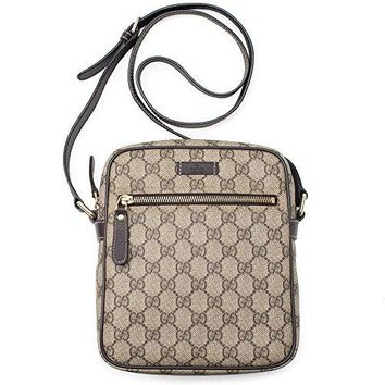 Gucci Flight bag Supreme GG Canvas Beige Ebony Brown Messenger Bag New