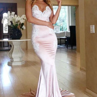 Mermaid_Spaghetti_Straps_Backless_Long_Pink_Prom_Dress_with_Appliques