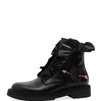 Valentino Garavani Love Calf Leather Combat Boot with Ruffles & Heart