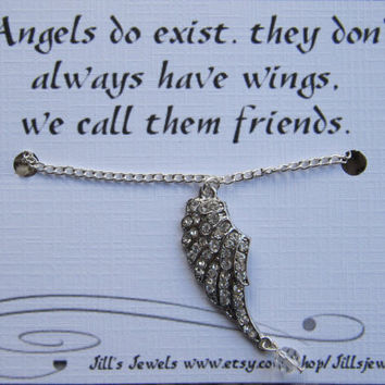 Angel Charm Necklace and Quote Inspirational Card- Bridesmaids Gift - Friendship Necklace - Friends Forever - Quote Gift