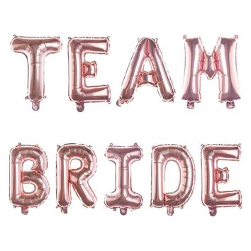 TEAM BRIDE Non-Floating Letter Balloons - 13 Inch Rose Gold