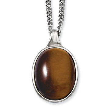 """Stainless Steel Tiger's Eye Pendant 18"""" Necklace"""