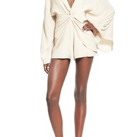 4SI3NNA Knot Waist Bell Sleeve Romper | Nordstrom