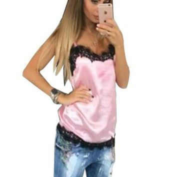 Newly Fashion Sexy Women Solid Camis Summer Casual Lace Patchwork Vest Top Sleeveless Tank Tops T-Shirt 4 Colors Tops GV554