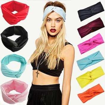 Women Stretch Twist Headband Turban Sport Yoga Head Wrap Bandana Headwear Hair Accessories 2017 New