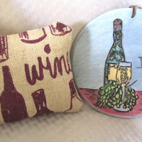 Wine lover's gift, gift basket, home decor, wine decor, wood burning, Pyrography, mini pillow, housewarming gift, host gift, hostess gift,