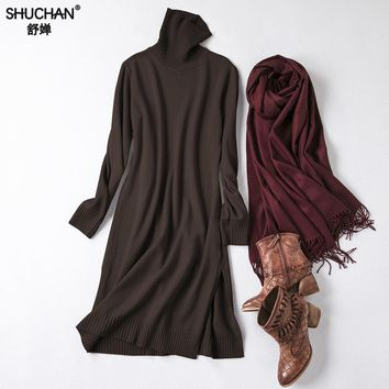 Shuchan Winter Knitted Dress Turtleneck Warm 50% Wool+25%cotton+10%cashmere Straight Knee-length Knit Sweaters Dresses 0119