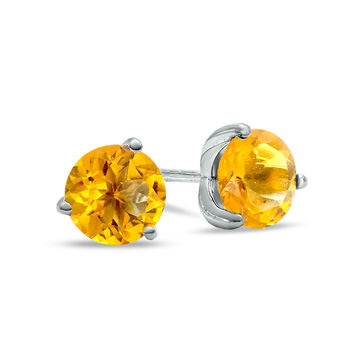 7.0mm Citrine Stud Earrings in Sterling Silver