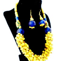 yellow and blue chunky African necklace and earring set high fashion jewelry fair trade made in Ghana gifts for mom green glass beads