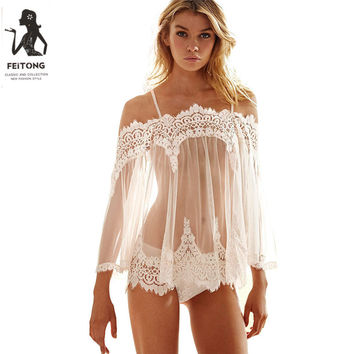 Feitong Sexy Nightdress Babydoll Nuisette Thongs Women Ladies Summer Sexy Lace Sleepwear Shirt Nightgown Lingerie Large Sizes