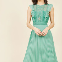 Ruffled in Florence Midi Dress in Buttermint
