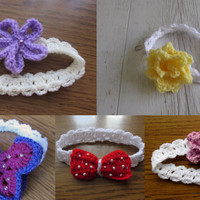 Easy Crochet headband patterns - 5 headbands and 3 flower , 1 bow , 1 butterfly patterns included