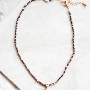 Teardrop Stone Choker, Brown