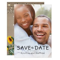 Rustic Garden Sunflowers Photo Save the Date Card
