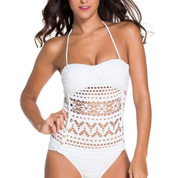 White Lace Halter Teddy Swimsuit