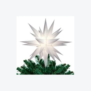 "12"" Lighted White Moravian Star Christmas Tree Topper/Decoration - Clear Lights"