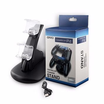 New Dual USB Charge Charging Dock Stand for Sony Playstation 4 PS4 Dualshock 4 Gamepad PS4 Wireless Controller Charger