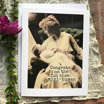 Congrats on the Fun Size Mini-Human Funny Vintage Style New Baby Congratulations Card Pregnancy Card Baby Shower Card FREE SHIPPING
