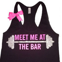 Meet Me at The Bar - Racerback Tank - Black Tank - Fitness Tank - Gym Tank - Workout Tank - Workout Clothes