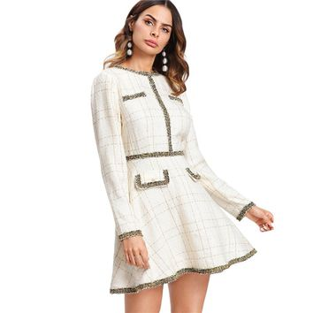 Fit and Flare Tweed Pearl Embellished Dress