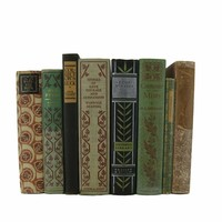 Farmhouse Chic Decorative Book Stack Greens and Blacks, S/8