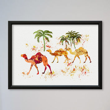 Camels FRAMED Watercolor Print Watercolor Picture Watercolor Camel Art Illustration Art Camels Walking In The Desert