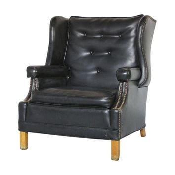 Pre-owned Mid-Century Gothic Style Large Wingback Club Chair