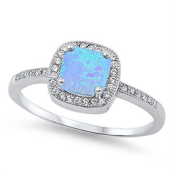 A Perfect Round Cut Australian Blue Opal Engagement Ring