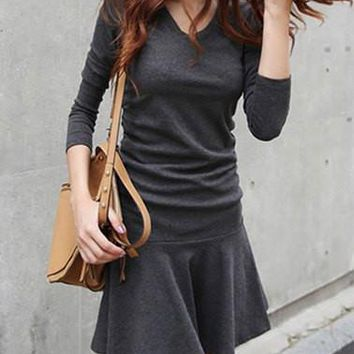 Deep Gray Beam Waist Long Sleeve Mini Dress